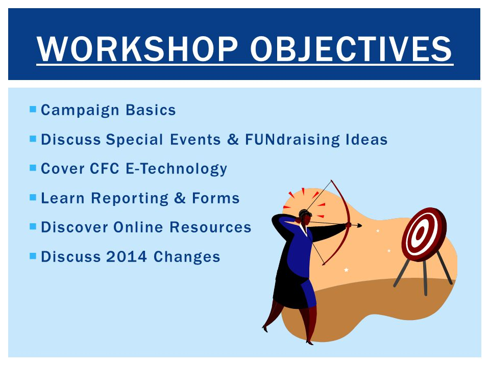 Workshop Objectives Campaign Basics