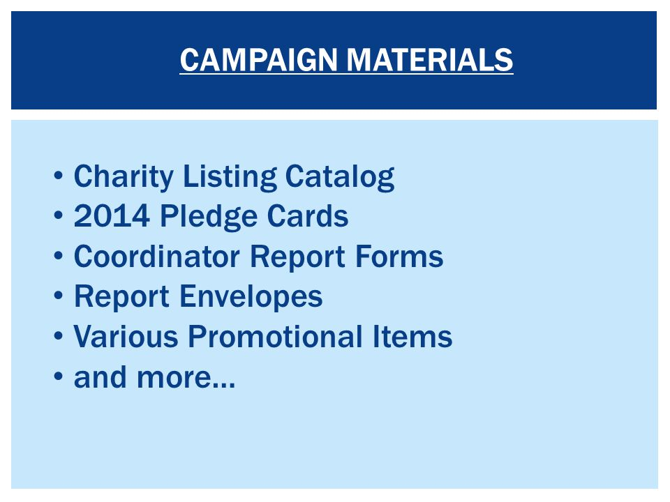 Charity Listing Catalog 2014 Pledge Cards Coordinator Report Forms