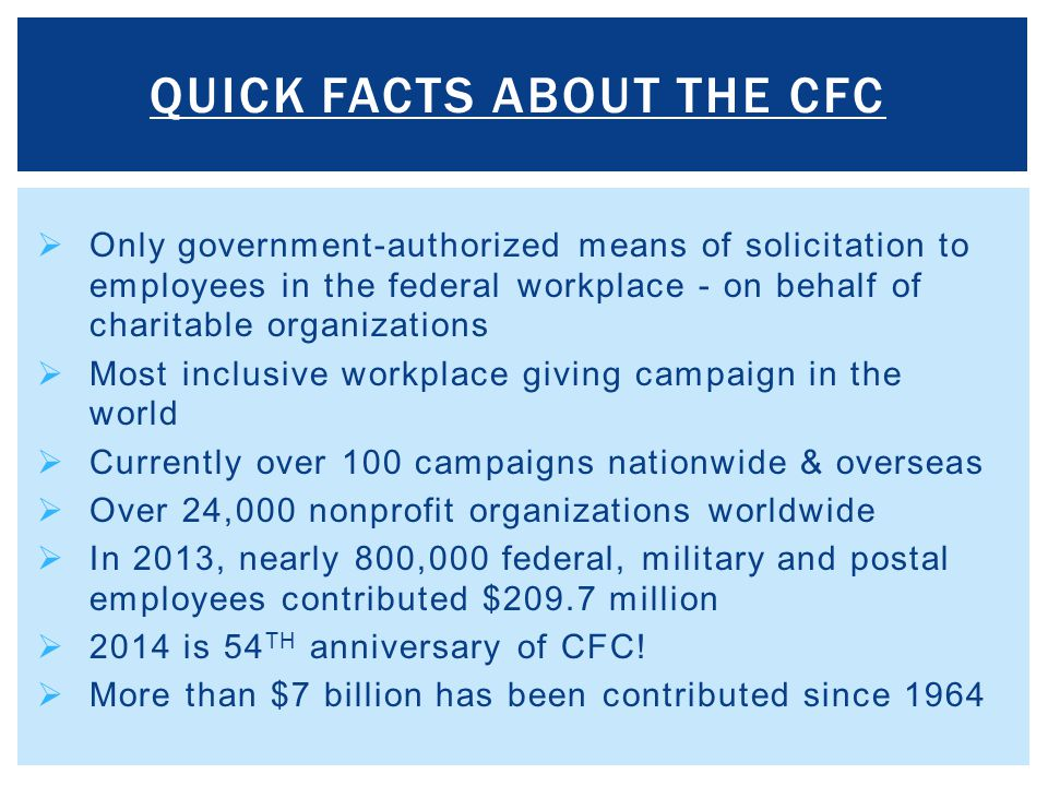 QUICK FACTS ABOUT THE CFC