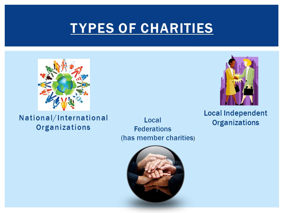 Types of charities Local Independent Organizations