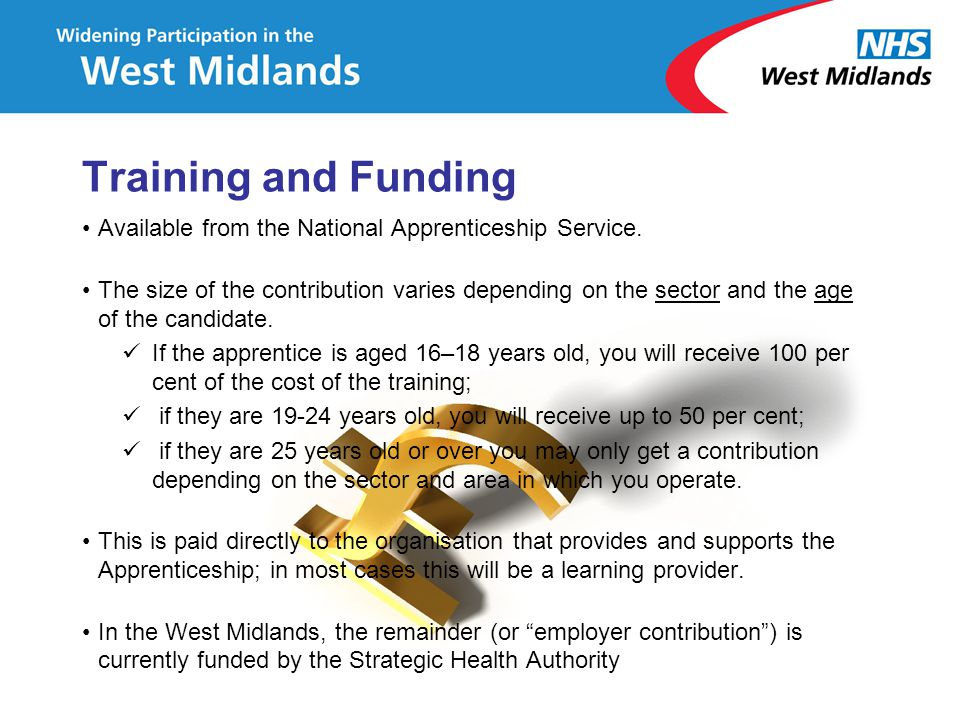 Training and Funding Available from the National Apprenticeship Service.