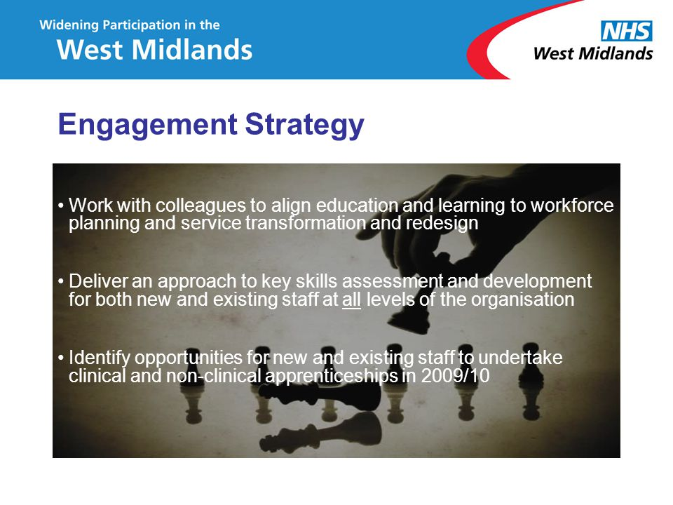 Engagement Strategy Work with colleagues to align education and learning to workforce planning and service transformation and redesign.