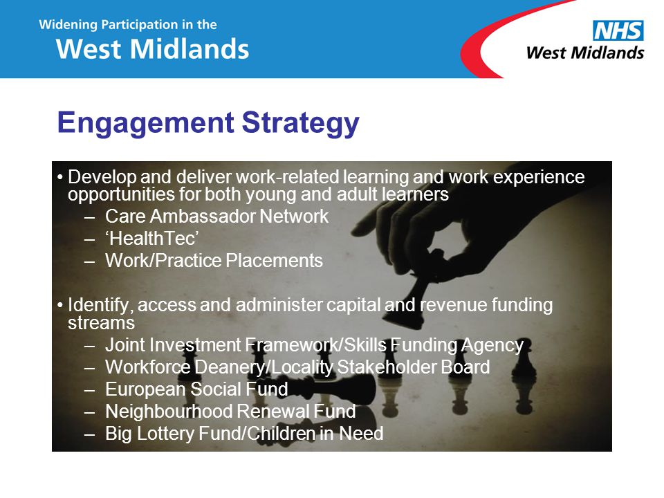 Engagement Strategy Develop and deliver work-related learning and work experience opportunities for both young and adult learners.