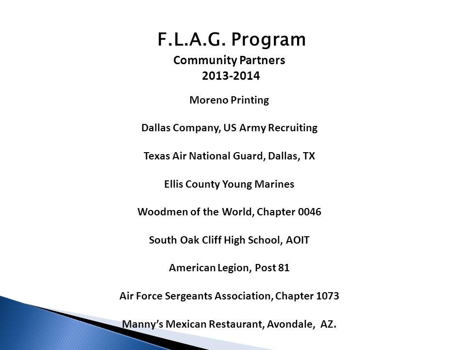 F.L.A.G. Program Community Partners 2013-2014 Moreno Printing