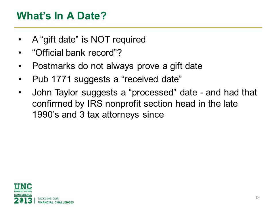 What's In A Date A gift date is NOT required