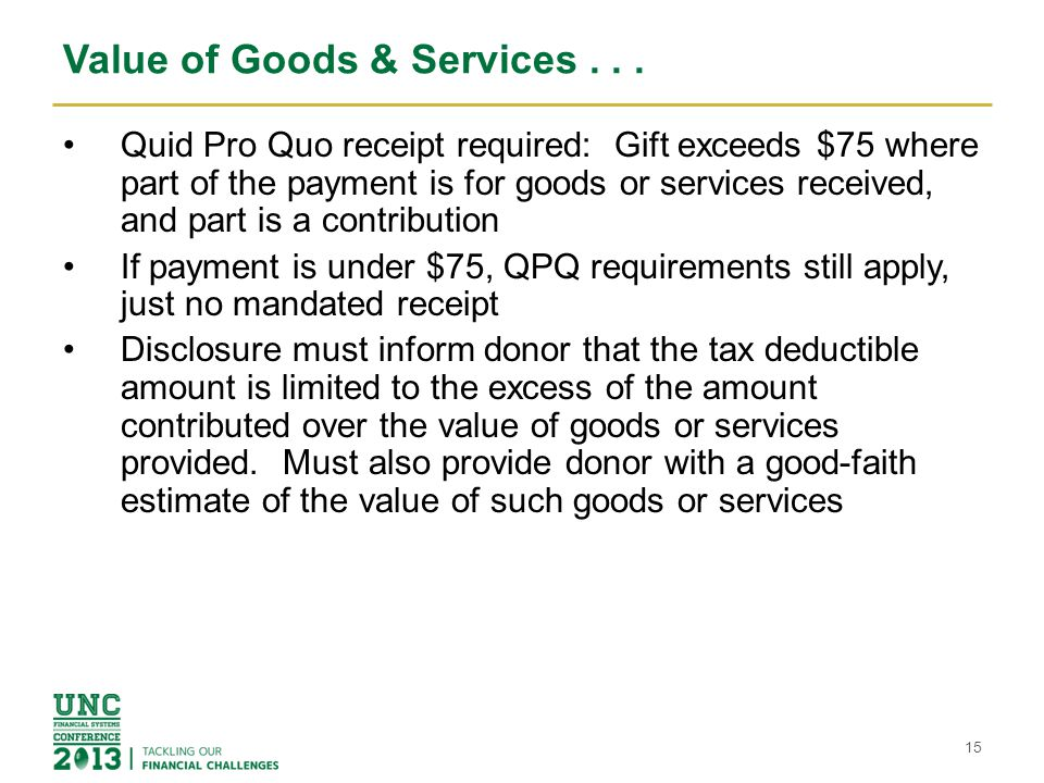 Value of Goods & Services . . .