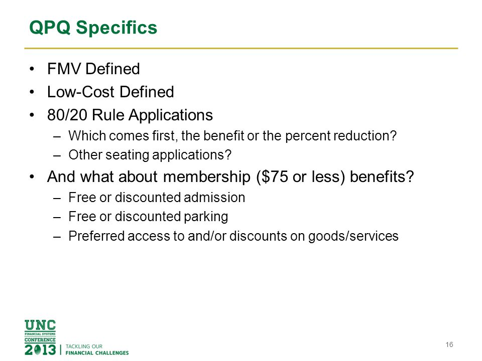 QPQ Specifics FMV Defined Low-Cost Defined 80/20 Rule Applications