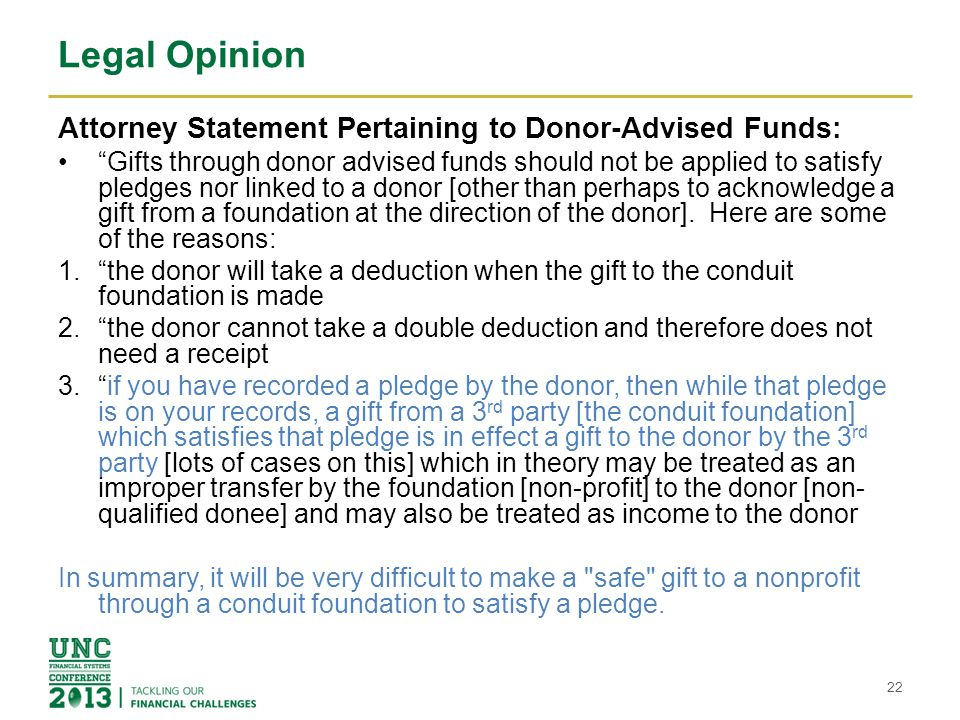 Legal Opinion Attorney Statement Pertaining to Donor-Advised Funds: