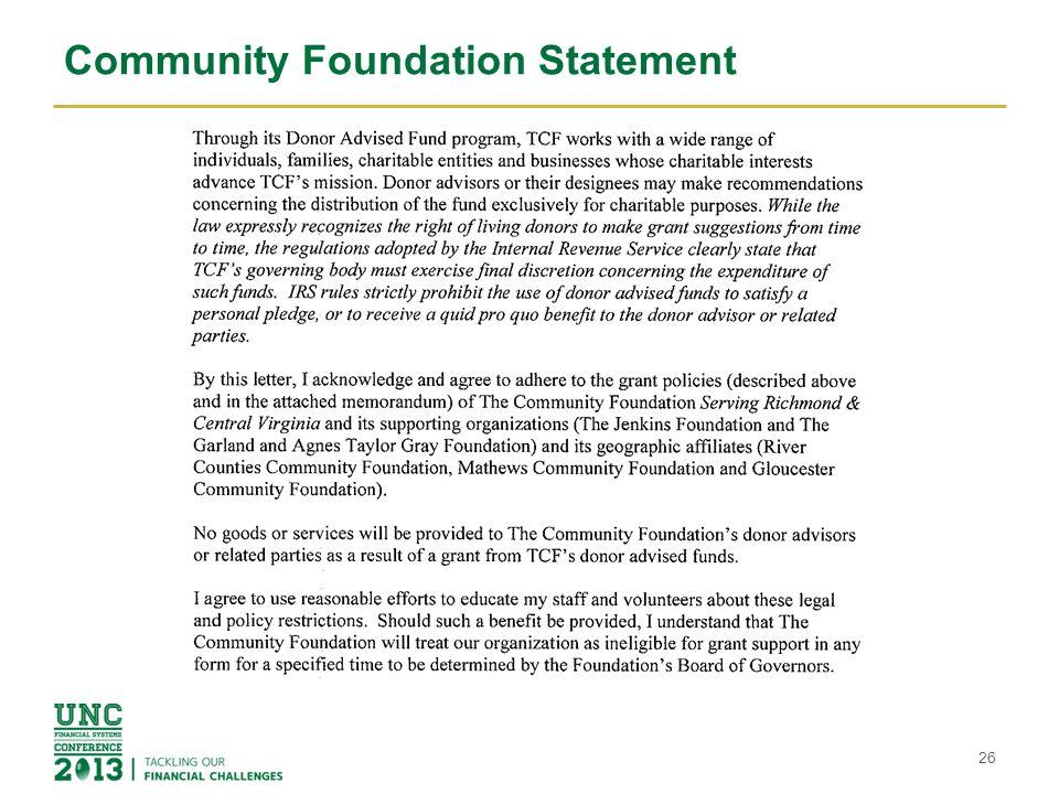 Community Foundation Statement