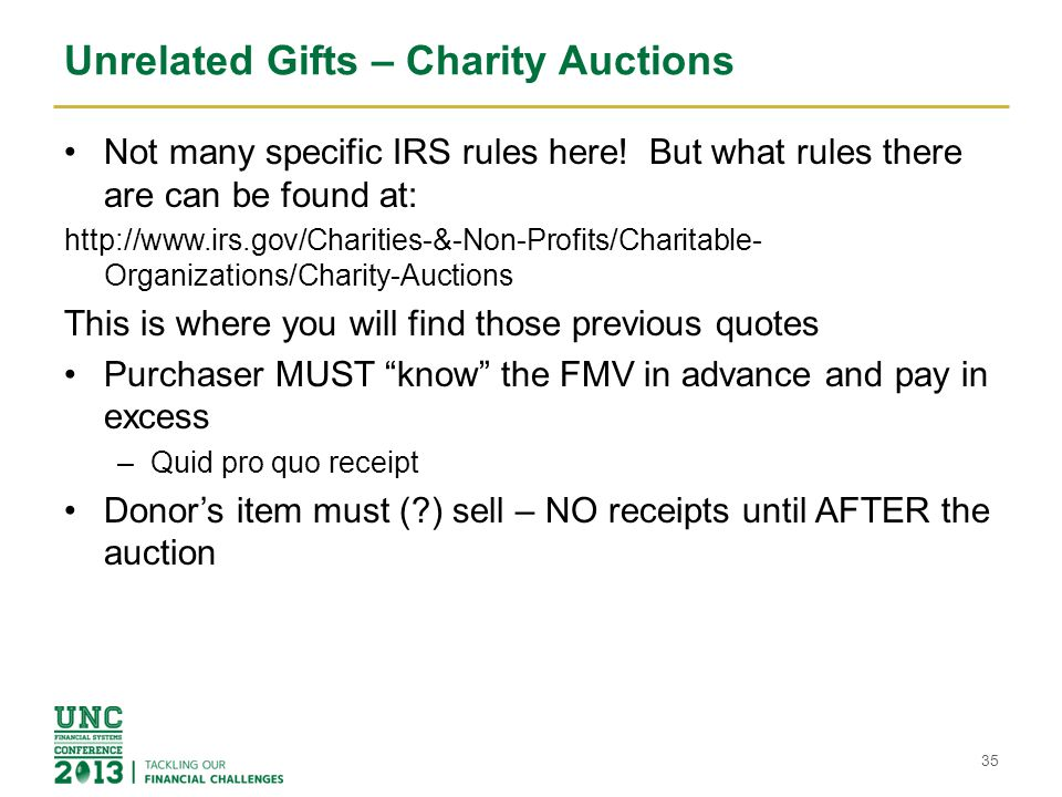 Unrelated Gifts – Charity Auctions