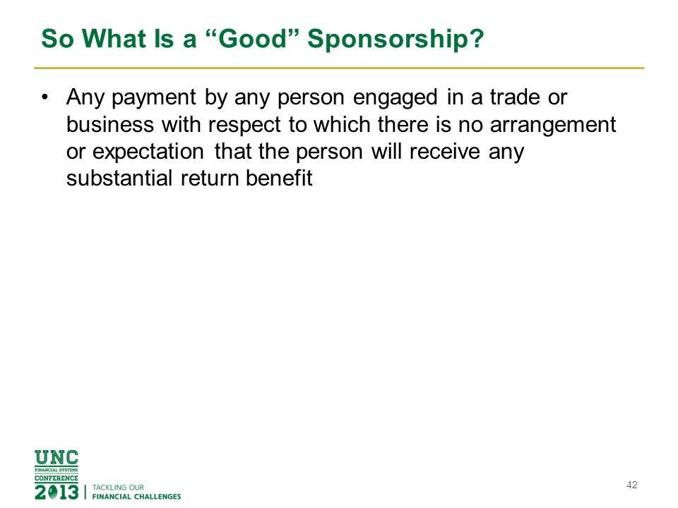 So What Is a Good Sponsorship