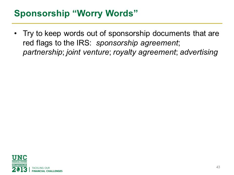 Sponsorship Worry Words