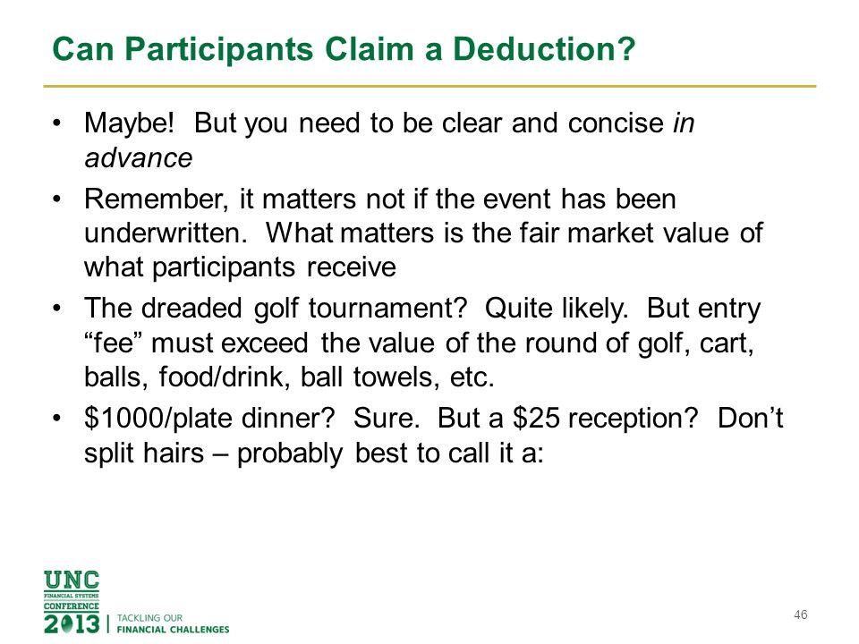 Can Participants Claim a Deduction