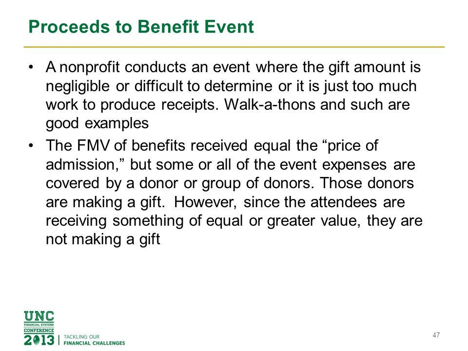 Proceeds to Benefit Event