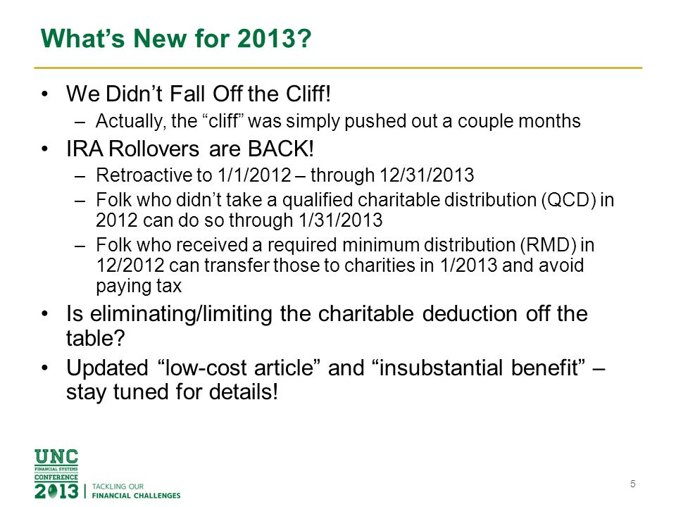 What's New for 2013 We Didn't Fall Off the Cliff!
