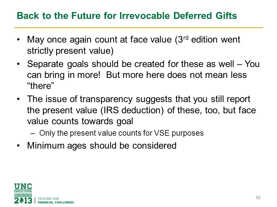 Back to the Future for Irrevocable Deferred Gifts