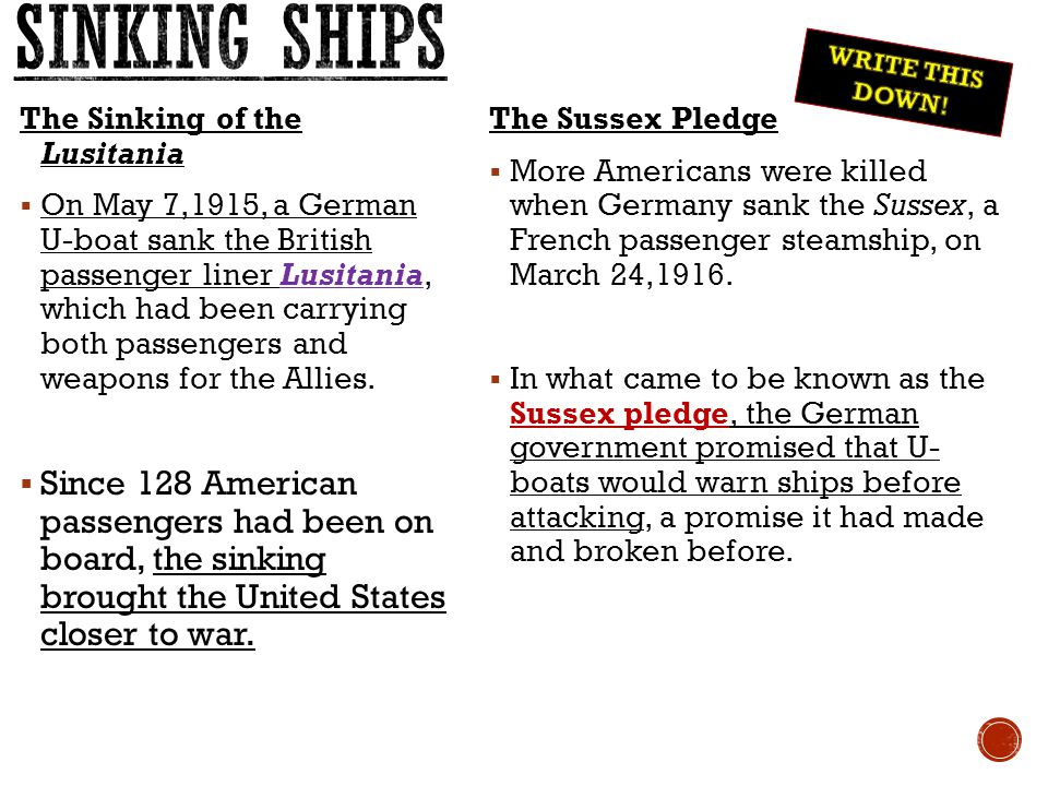 Sinking ships WRITE THIS DOWN! The Sinking of the Lusitania.
