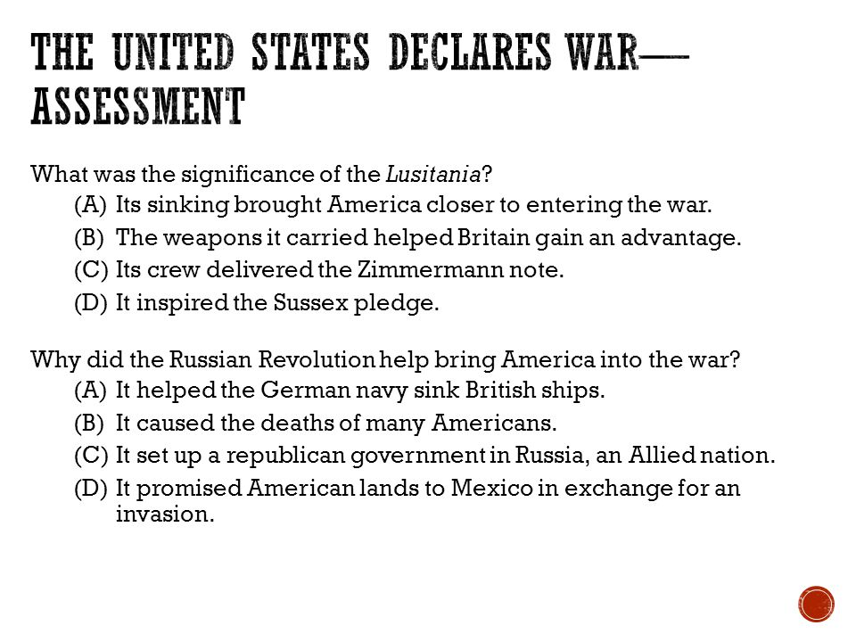 The United States Declares War—Assessment