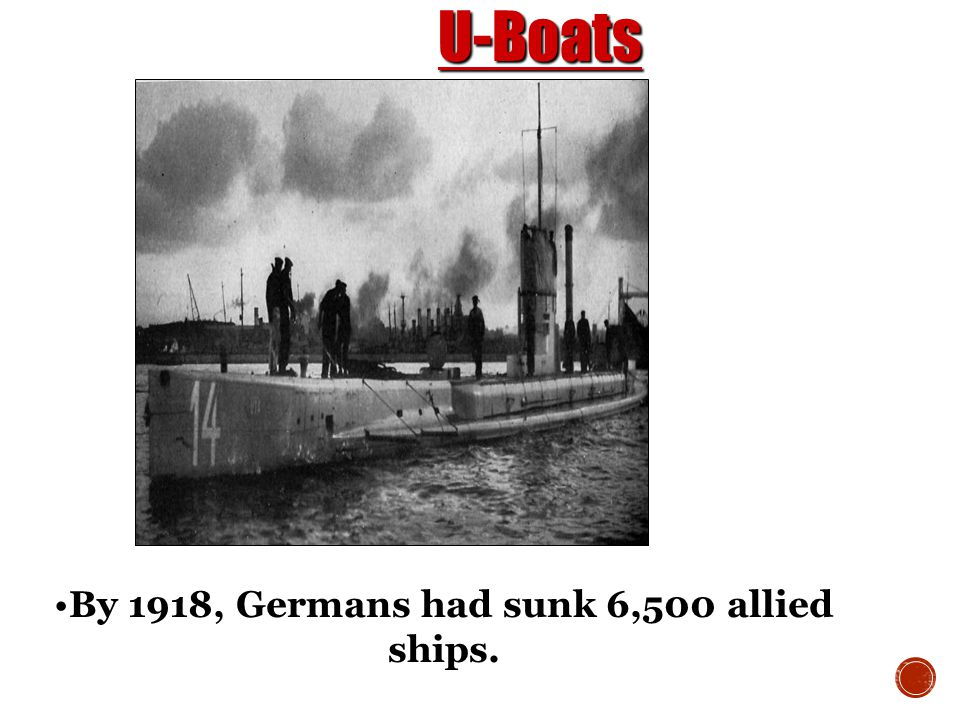 By 1918, Germans had sunk 6,500 allied ships.