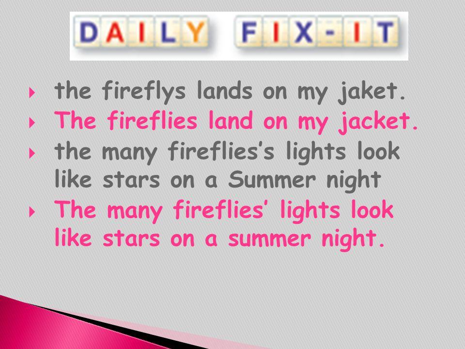 the fireflys lands on my jaket.