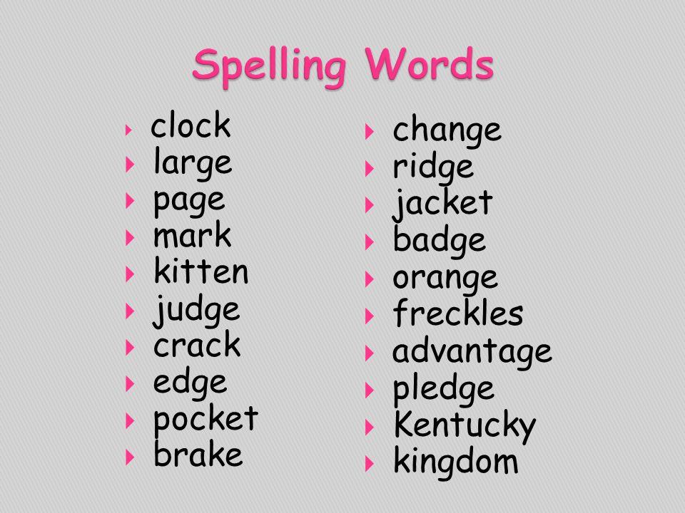 Spelling Words change large ridge page jacket mark badge kitten orange