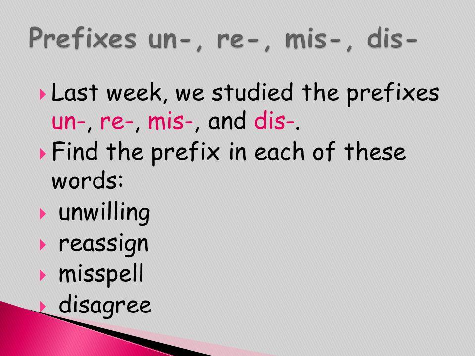 Prefixes un-, re-, mis-, dis-