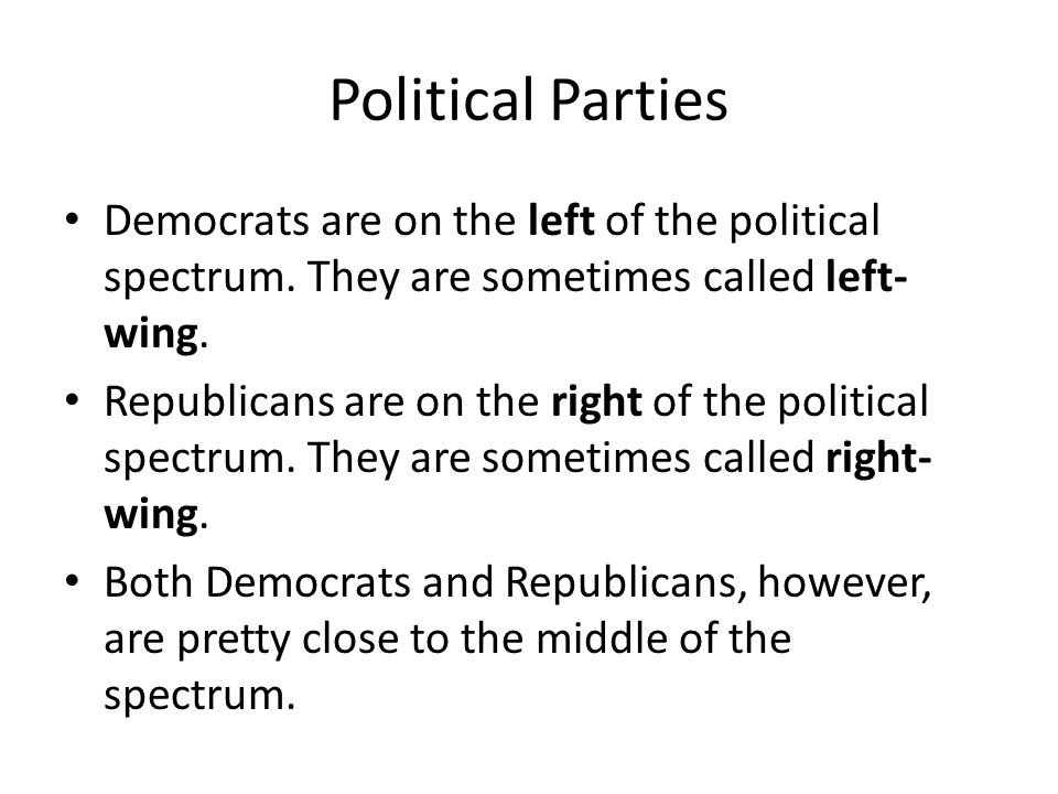 Political Parties Democrats are on the left of the political spectrum. They are sometimes called left-wing.