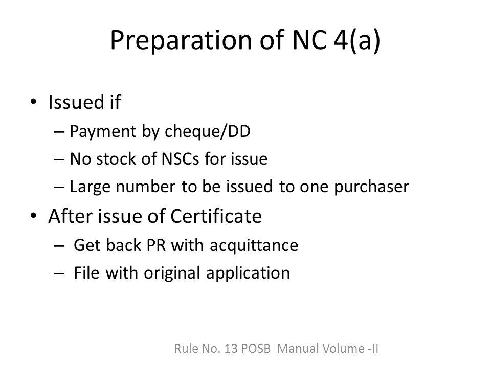 Rule No. 13 POSB Manual Volume -II