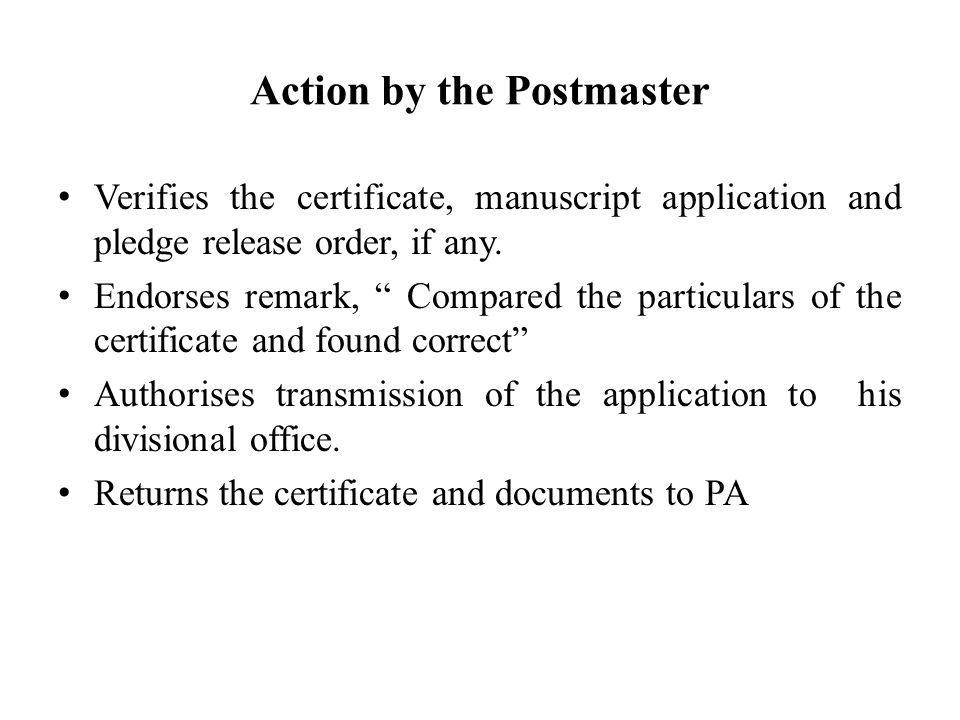 Action by the Postmaster