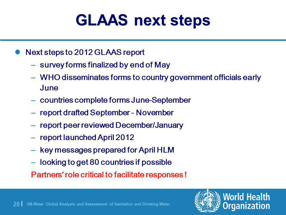 GLAAS next steps Next steps to 2012 GLAAS report