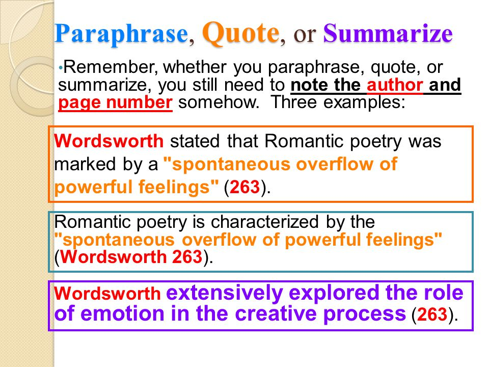 Paraphrase, Quote, or Summarize