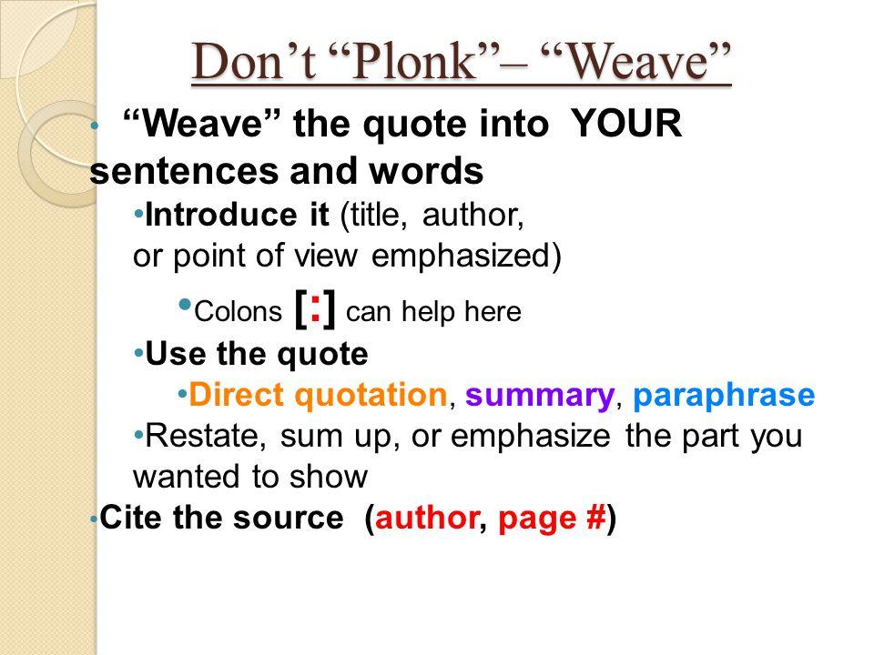 Don't Plonk – Weave