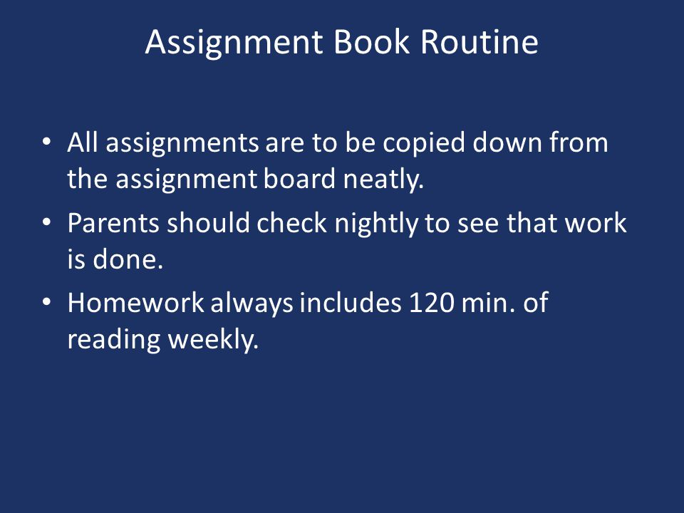 Assignment Book Routine