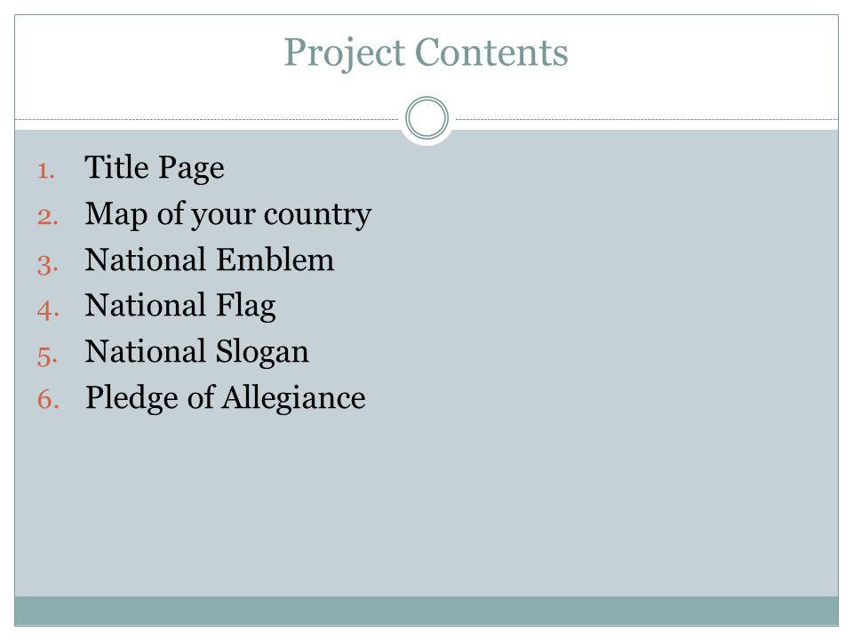 Project Contents Title Page Map of your country National Emblem