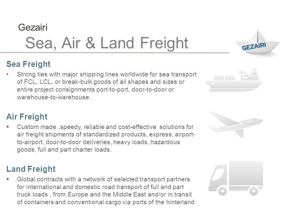 Sea, Air & Land Freight Gezairi Sea Freight Air Freight Land Freight