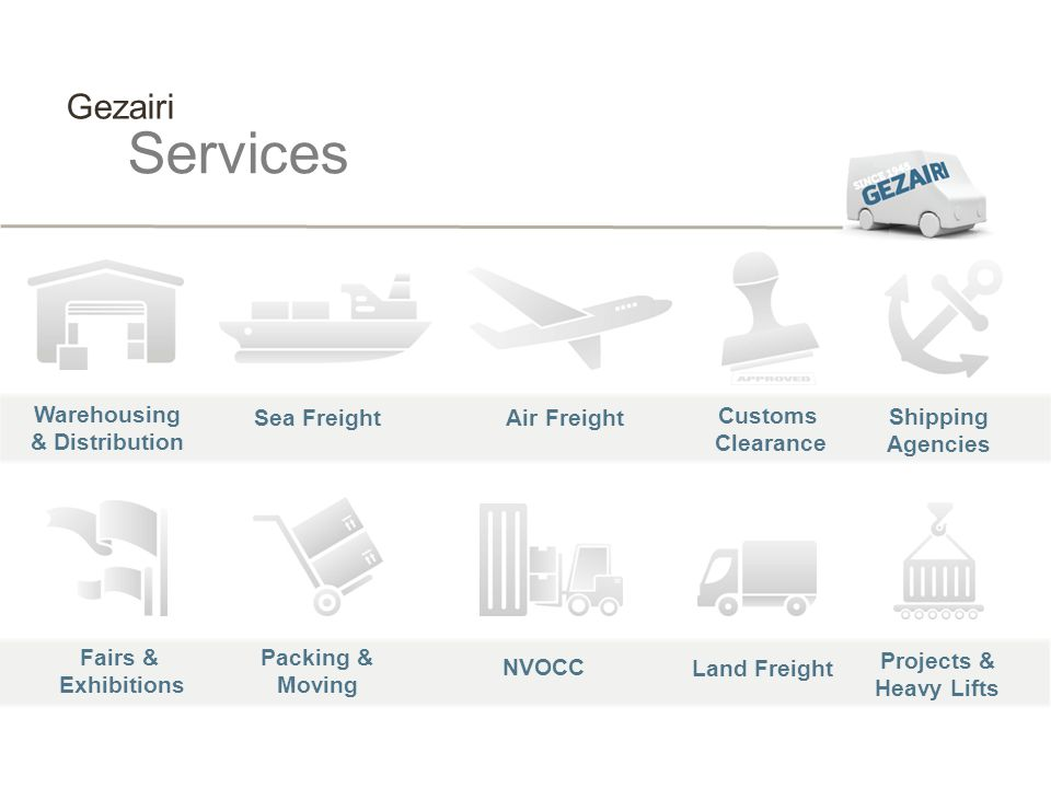 Services Gezairi Warehousing & Distribution Sea Freight Air Freight