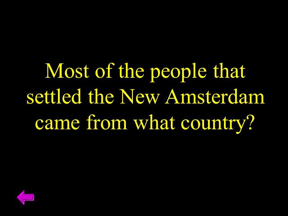Most of the people that settled the New Amsterdam came from what country