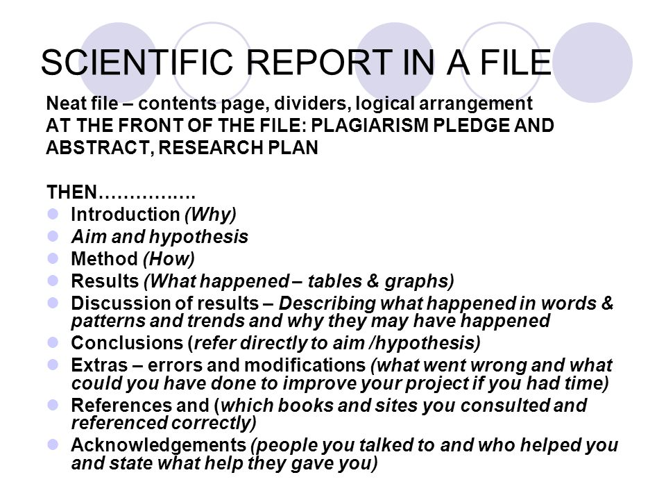 SCIENTIFIC REPORT IN A FILE