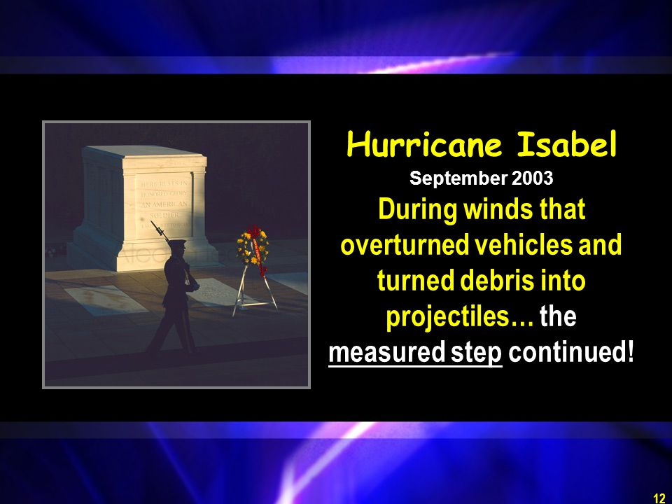 Hurricane Isabel September 2003 During winds that overturned vehicles and turned debris into projectiles… the measured step continued!
