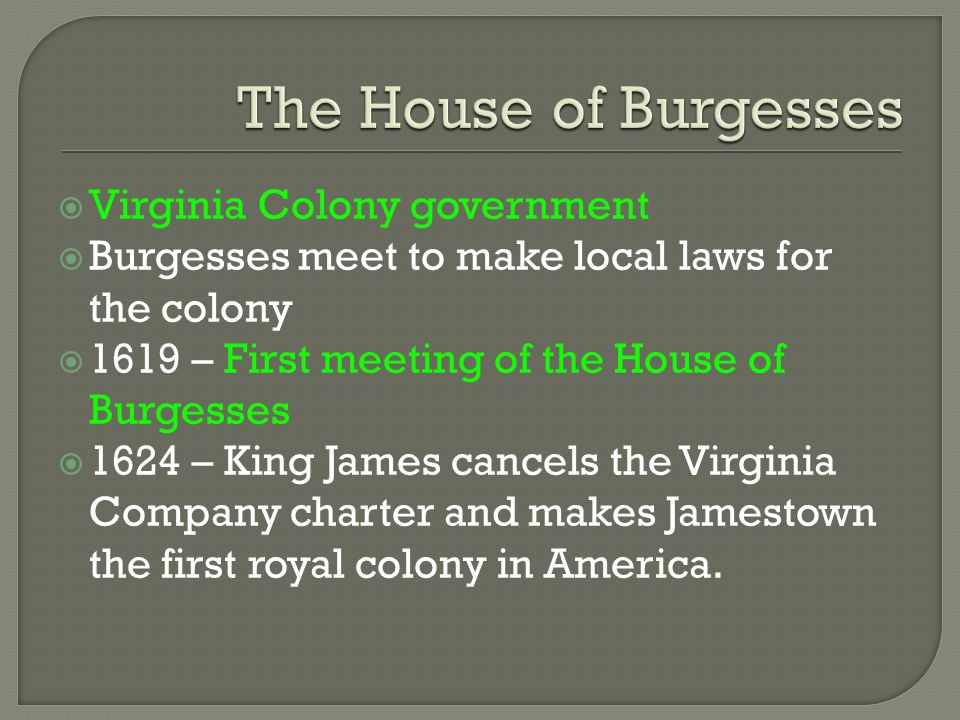 The House of Burgesses Virginia Colony government
