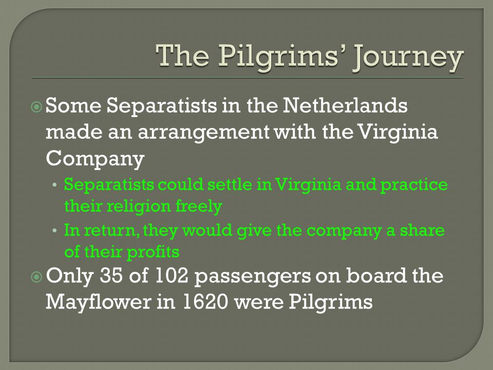 The Pilgrims' Journey Some Separatists in the Netherlands made an arrangement with the Virginia Company.