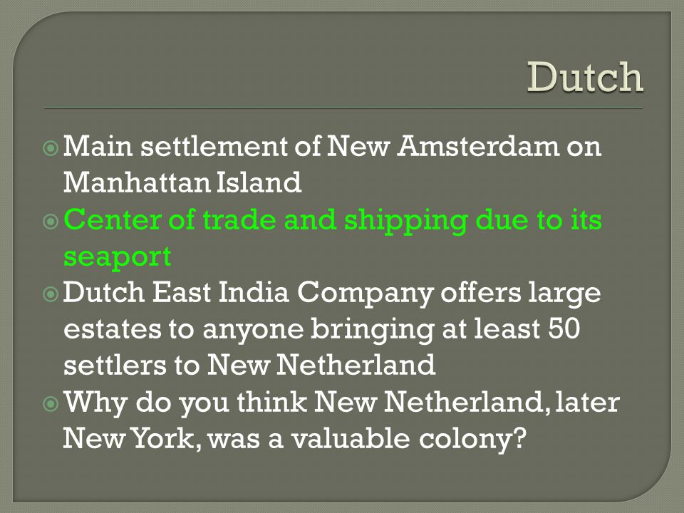 Dutch Main settlement of New Amsterdam on Manhattan Island