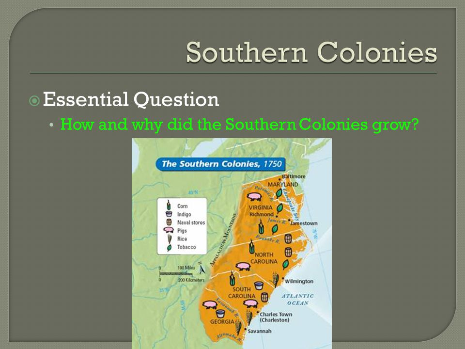 Southern Colonies Essential Question