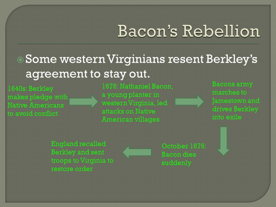 Bacon's Rebellion Some western Virginians resent Berkley's agreement to stay out. Bacons army marches to Jamestown and drives Berkley into exile.