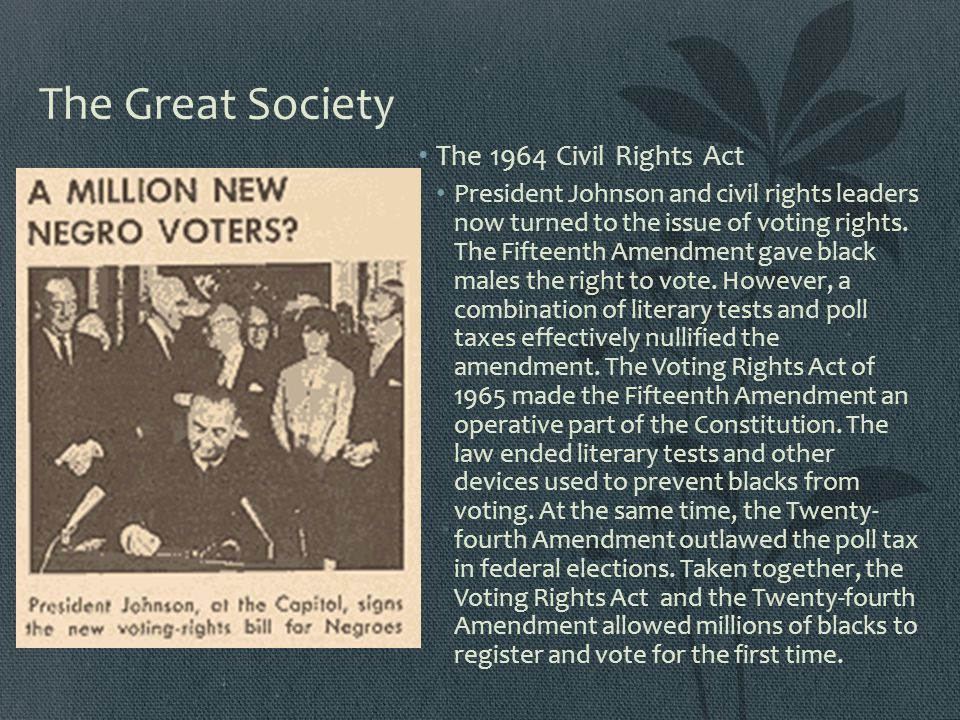 The Great Society The 1964 Civil Rights Act