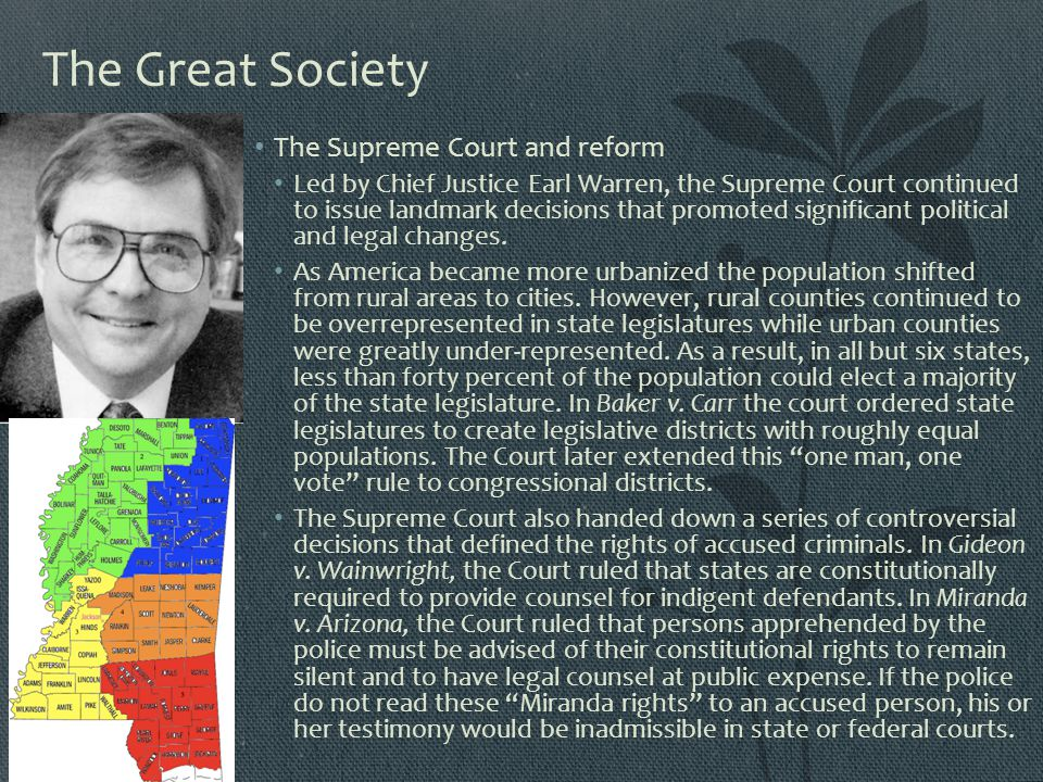 The Great Society The Supreme Court and reform
