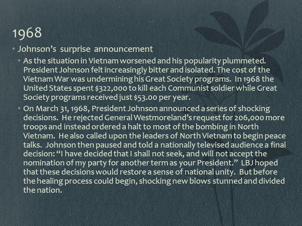 1968 Johnson's surprise announcement