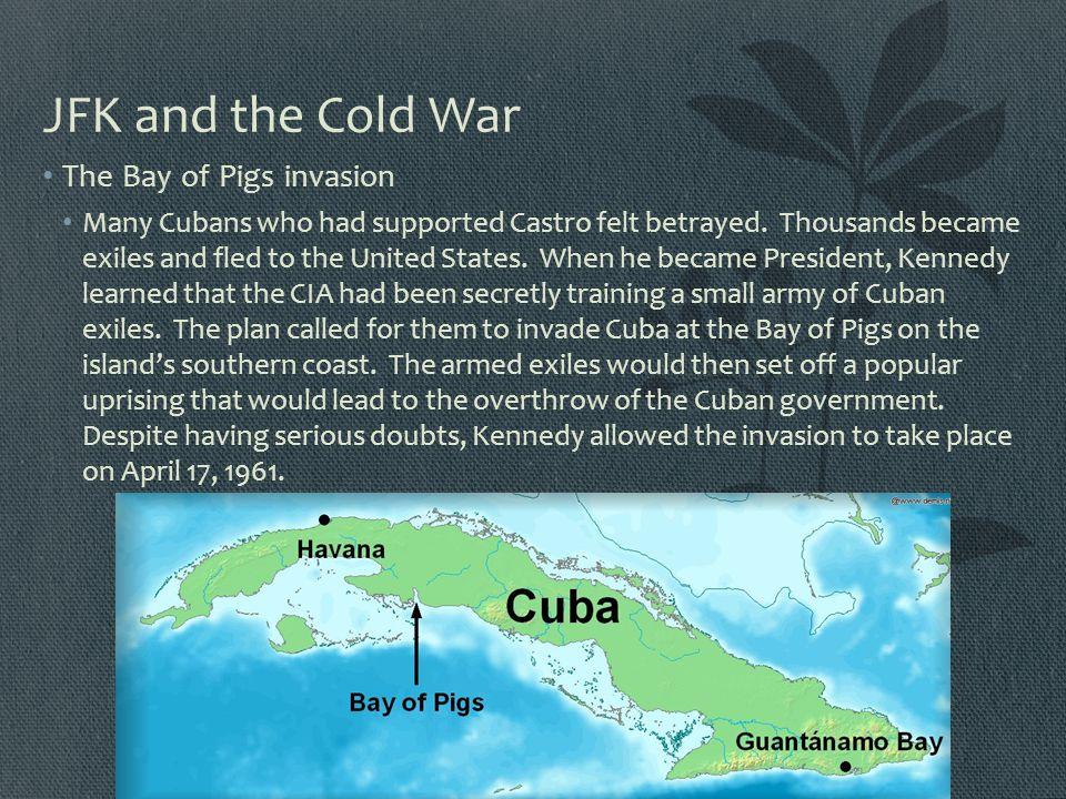 JFK and the Cold War The Bay of Pigs invasion