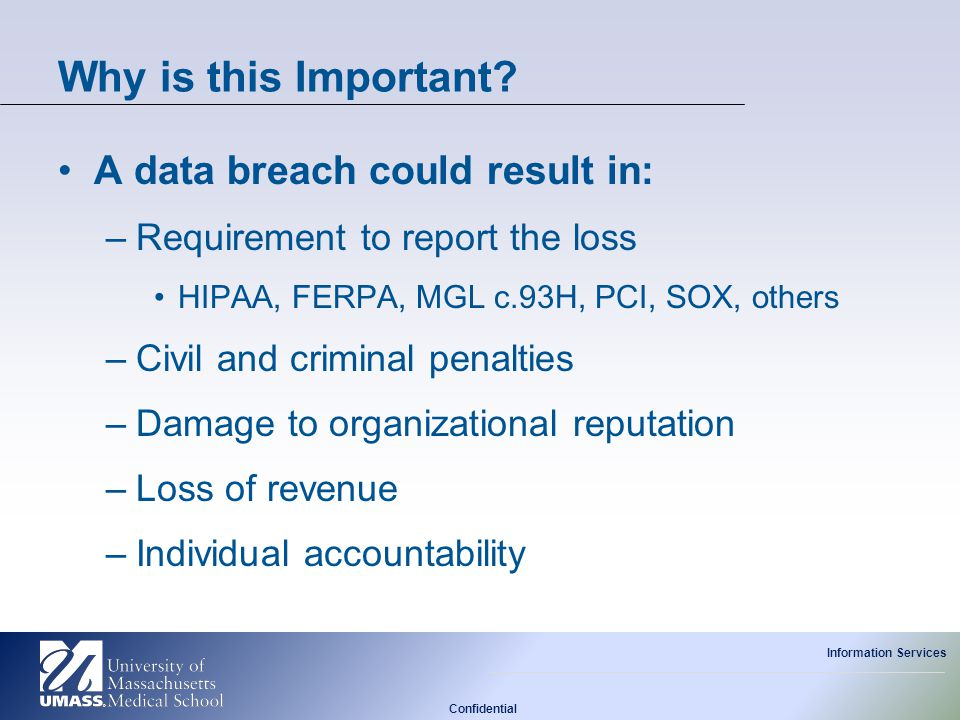 Why is this Important A data breach could result in: