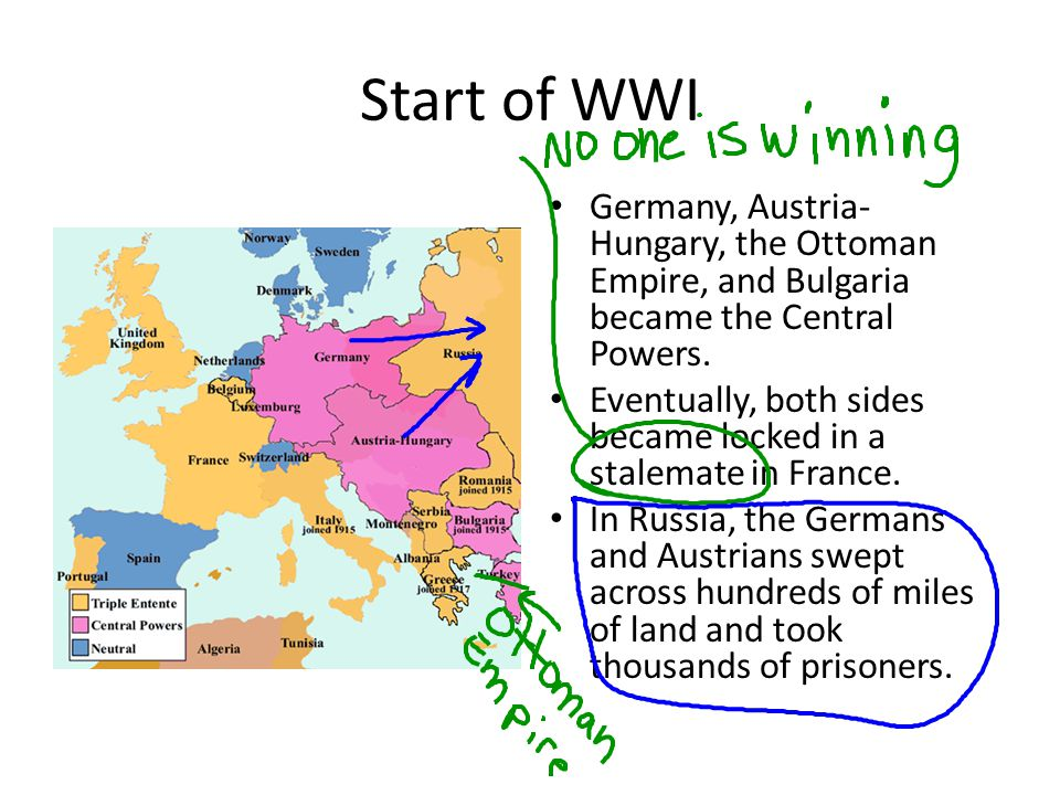 Start of WWI Germany, Austria-Hungary, the Ottoman Empire, and Bulgaria became the Central Powers.